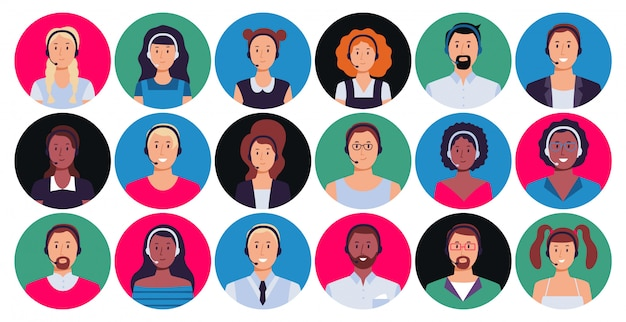 Call center operator. customer support worker portrait, round avatar hotline contact and supporting person  set Premium Vector