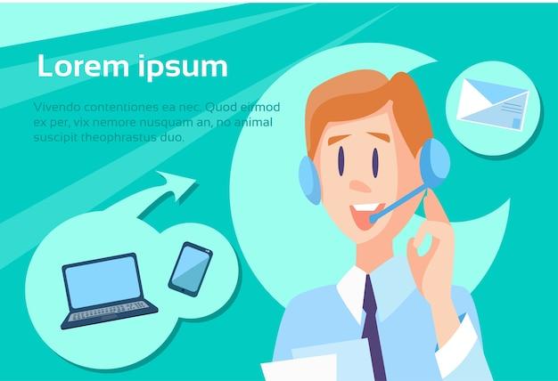 Call center operator man customer support Vector | Premium Download