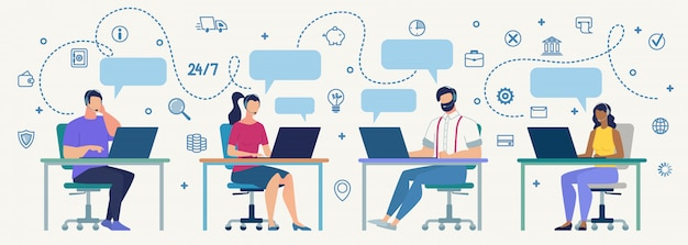 Call center operators at work flat vector concept Premium Vector