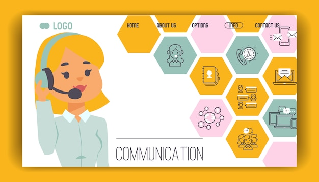 Call center pattern web page people operator in headset man woman character working Premium Vector