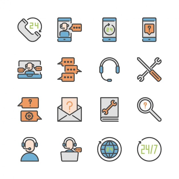 Call center and support in colorline icon set Premium Vector