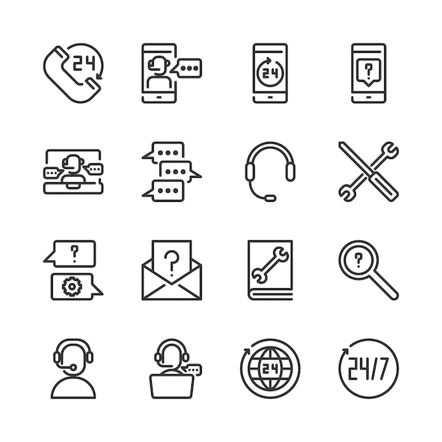 Call center and support icon set Premium Vector
