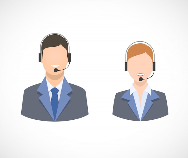 Call center support personnel staff icons Free Vector