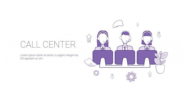 Call center support service template banner Premium Vector