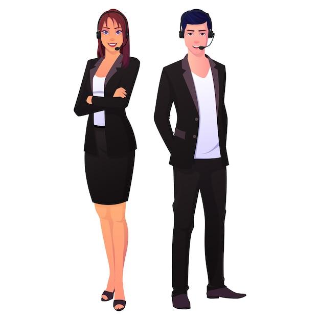 Колл-центр техническая поддержка команда мужчин и женщин Premium векторы