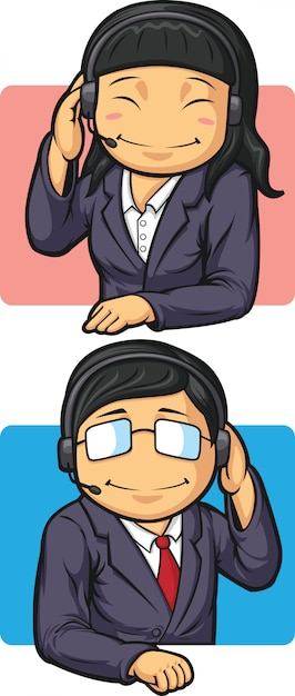 Call center workers with headsets Premium Vector