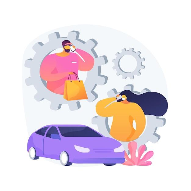 로드 제품 추상적 인 개념 그림을 요청하십시오. 상점 번호, 도로변 픽업 표시, 주문 id, 주차 장소, 물품 받기 무료 벡터