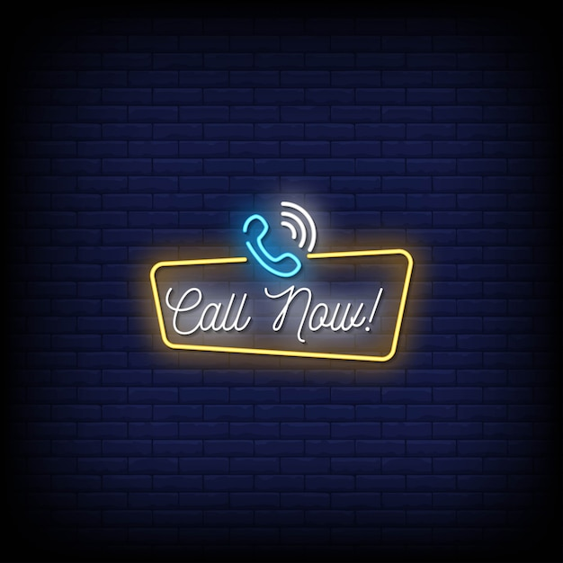 Call now neon signs style text Premium Vector