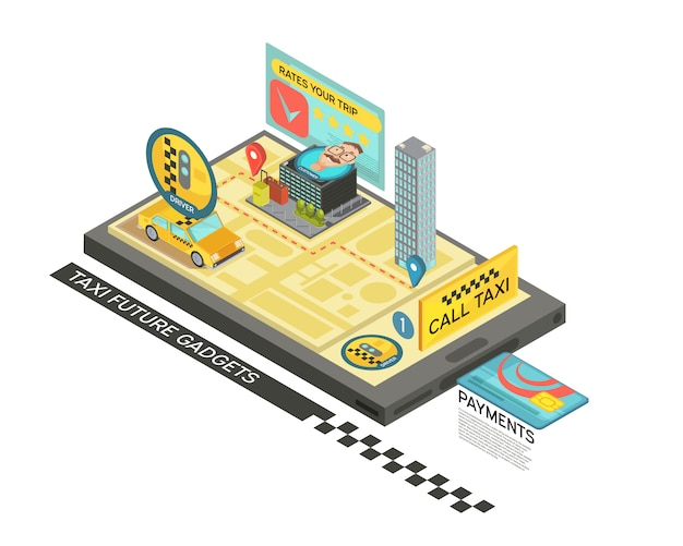 Call taxi by gadget isometric design with car, map, houses on mobile device screen 3d vector illustration Free Vector