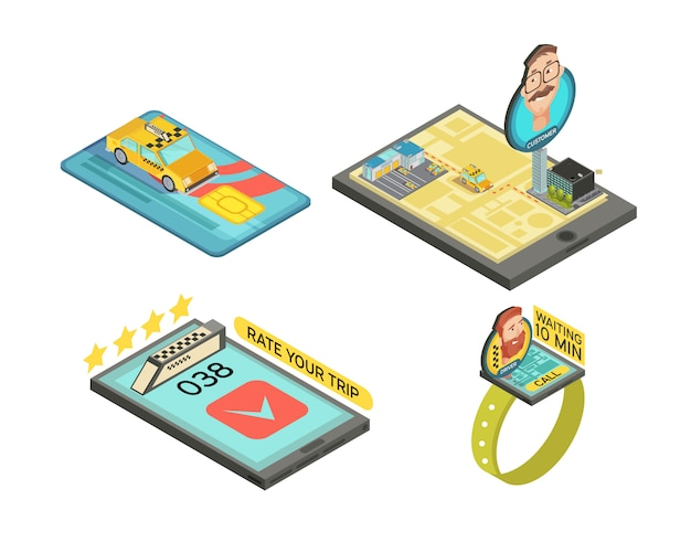 Call taxi by gadgets isometric compositions with car trip rating payment card waiting time isolated vector illustration Free Vector