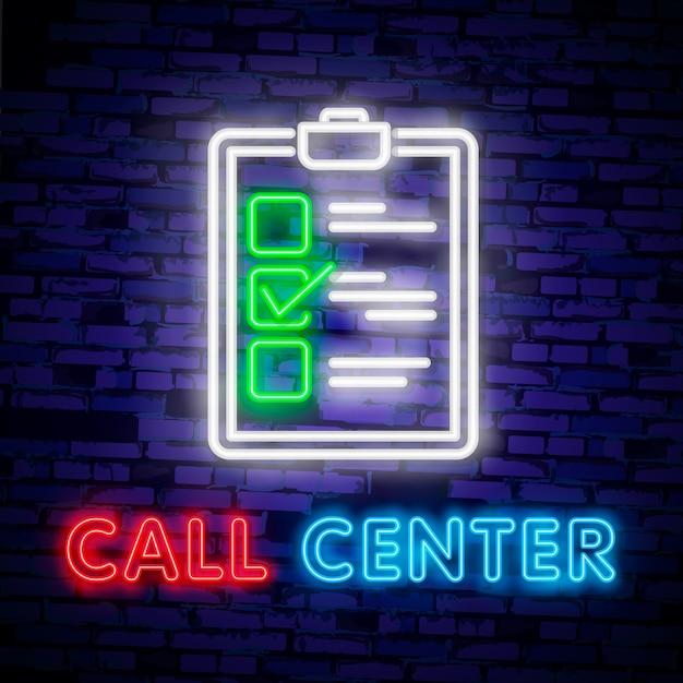 Call-центр оператора неоновый свет значок. служба поддержки светящийся знак. Premium векторы