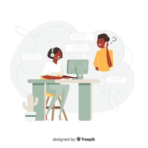 Call-центр концепции плоский дизайн Бесплатные векторы