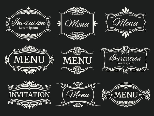 Calli decorative frames for menu and wedding invitation Premium Vector