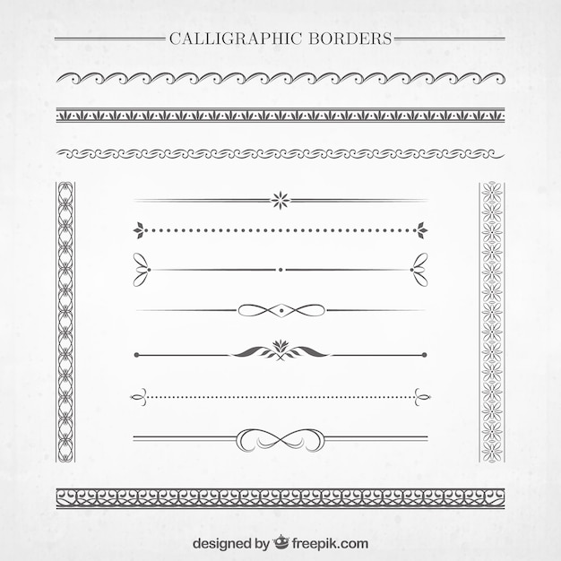 Calligraphic Borders Collection Free Vector