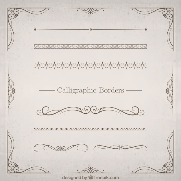 Borders vectors photos and psd files free download calligraphic borders set thecheapjerseys