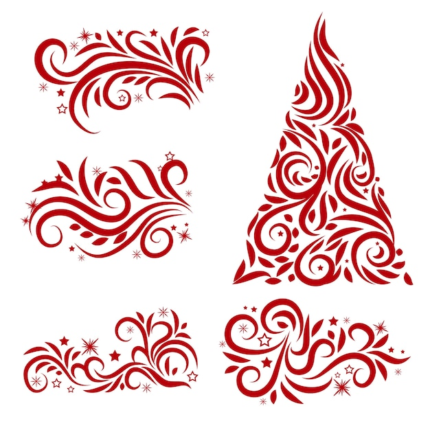 Calligraphic christmas decoration Free Vector