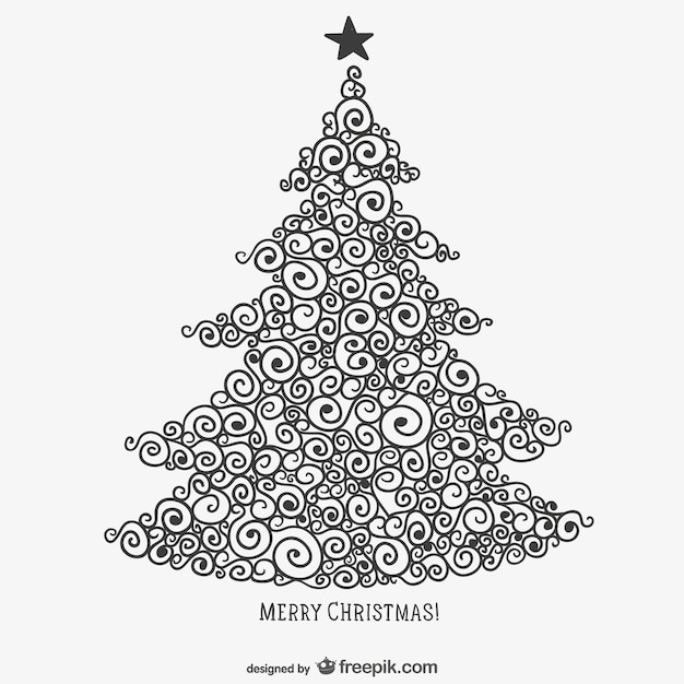 Calligraphic Christmas Tree Vector Free Download