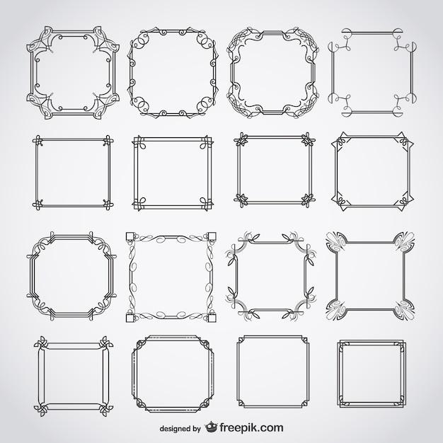 Calligraphic deco frames  Free Vector