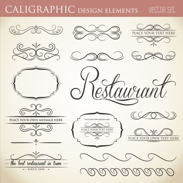 Calligraphic design element collection vector free download