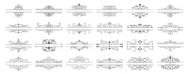 Pembagi kaligrafi.  perbatasan pembatas halaman retro dekoratif, bingkai kaligrafi pernikahan dan bingkai bunga hias swirls ikon vintage mengatur Vektor Premium