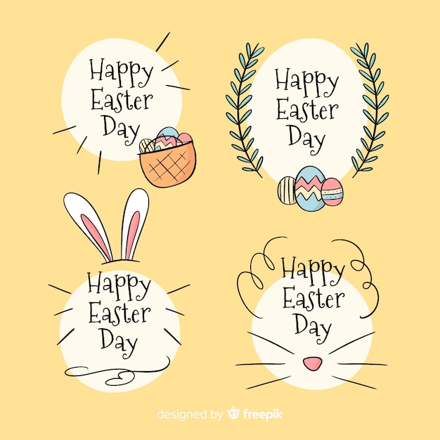 Calligraphic easter badge collection Free Vector