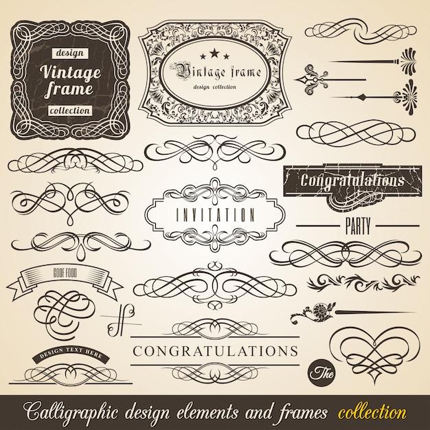 Calligraphic element border corner frame and invitation collection Premium Vector