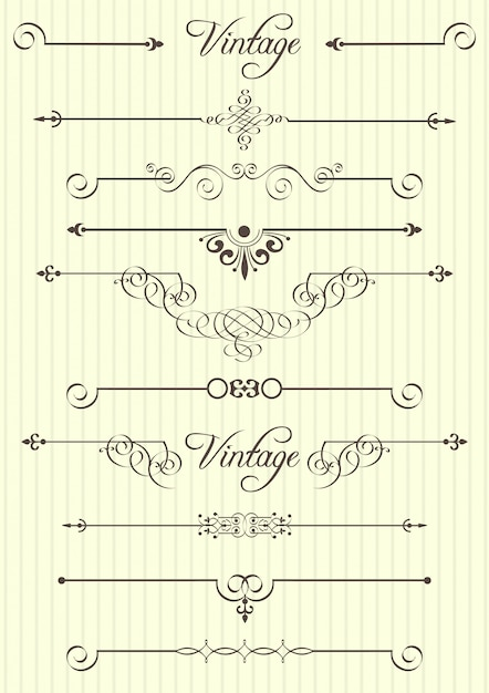 Calligraphic elements and page decor Premium Vector