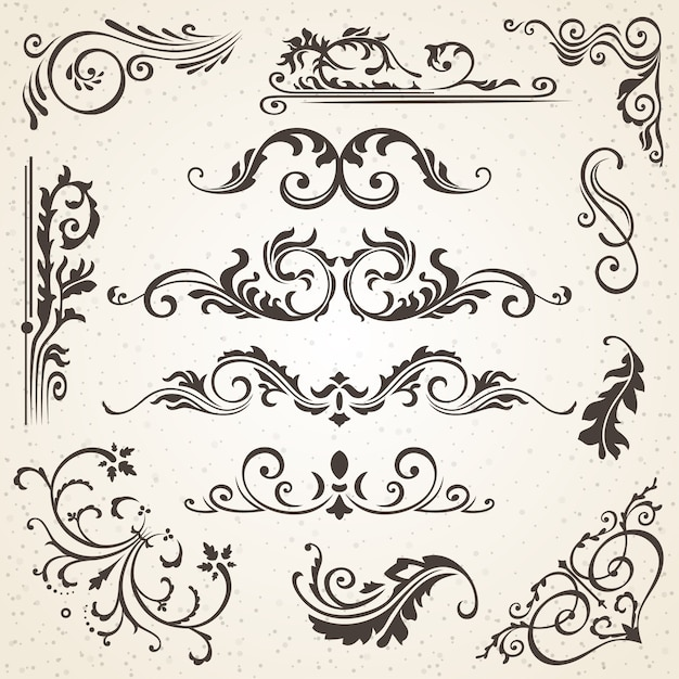 Calligraphic elements and page decoration Premium Vector