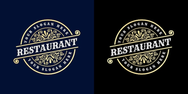 Calligraphic feminine floral beauty logo hand drawn heraldic monogram antique vintage style luxury design suitable for hotel restaurant cafe coffee shop Premium Vector