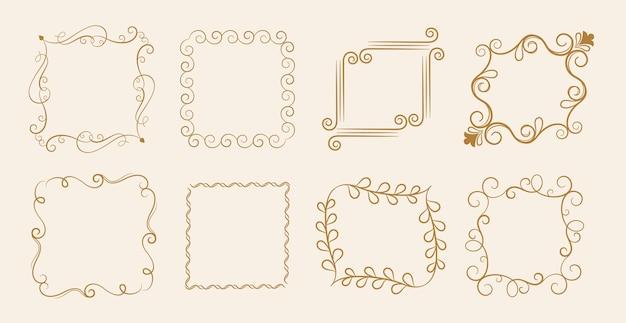 8つのカリグラフィ花ビンテージフレームセット 無料ベクター