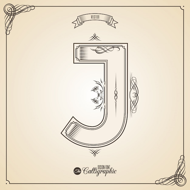 Calligraphic fotn with border, frame elements and invitation design symbols Premium Vector