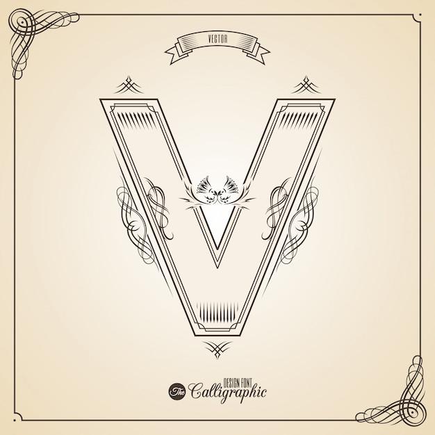 Calligraphic fotn with border, frame elements and invitation design symbols. Premium Vector