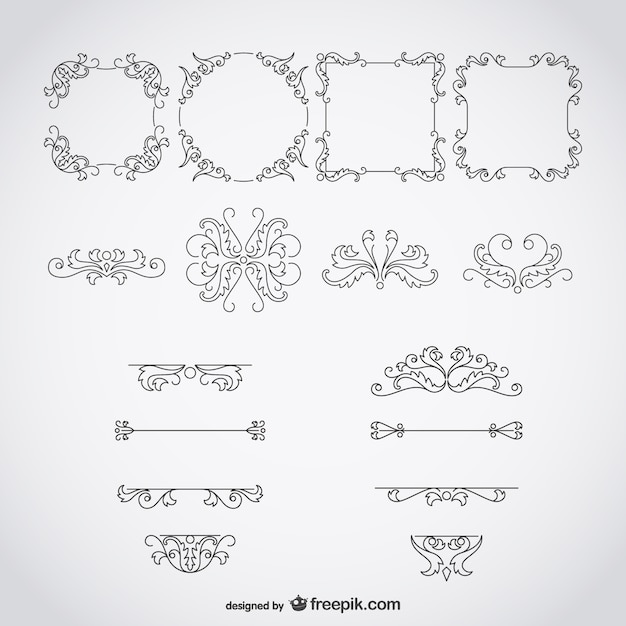 Calligraphic frames and ornaments vector free download
