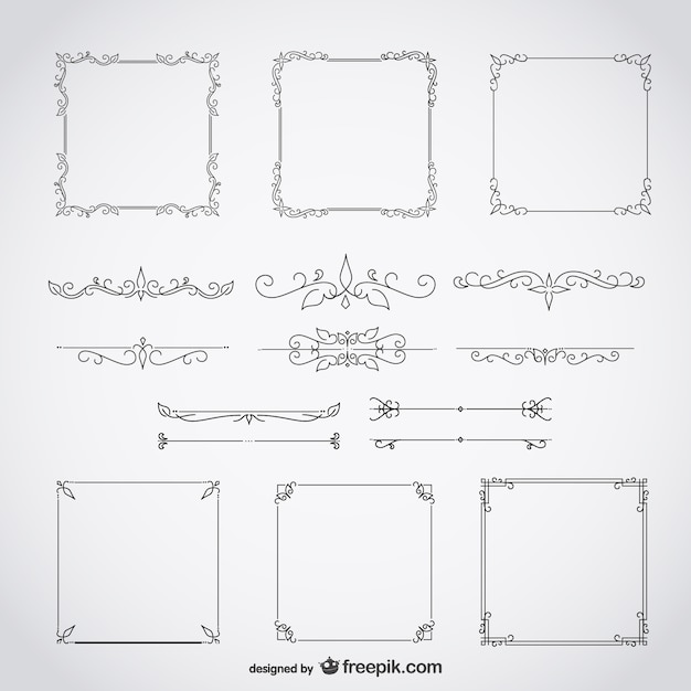 Calligraphic frames decorative floral set Free Vector