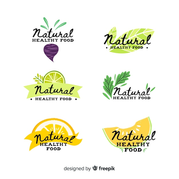 Calligraphic fresh food label pack Free Vector