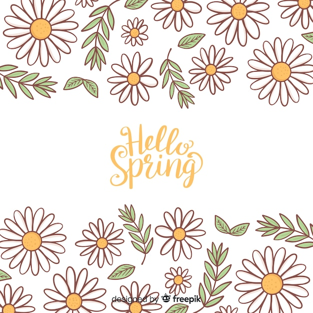 Calligraphic hand drawn floral spring background Free Vector