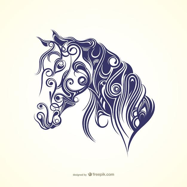 Каллиграфии лошадь Premium векторы