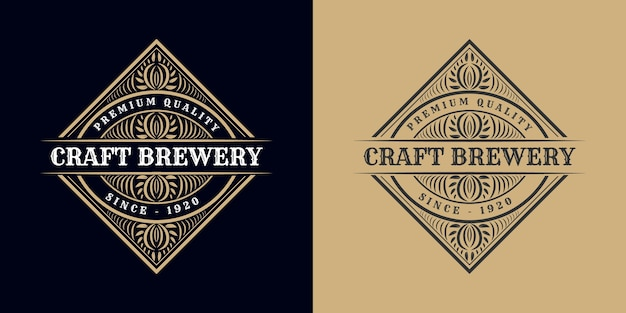 Calligraphic logo ornament vintage luxury border frame western antique label hand drawn engraving retro for craft beer craft beer wine whiskey beverage liquor bar shop hotel & restaurant Premium Vector