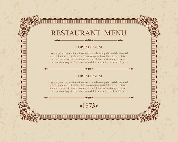 書道メニューレストラン活版印刷のデザイン要素、書道の優雅なテンプレート。 Premiumベクター