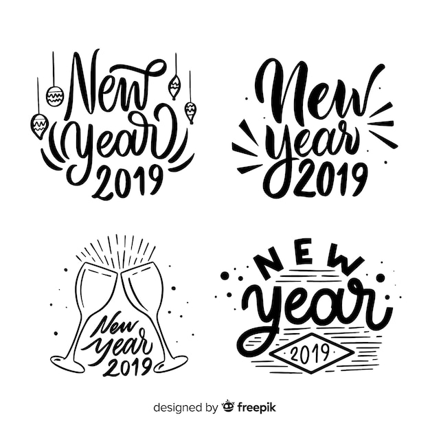 calligraphic new year label collection free vector