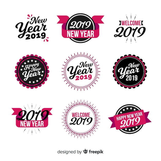 Calligraphic new year stickers collection Free Vector
