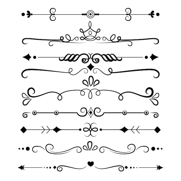 Calligraphic ornamental divider collection Free Vector