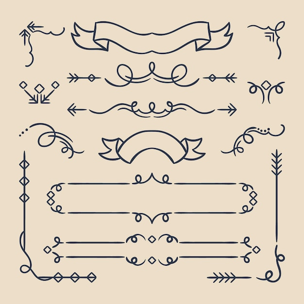 Каллиграфические декоративные рамки и элементы Бесплатные векторы