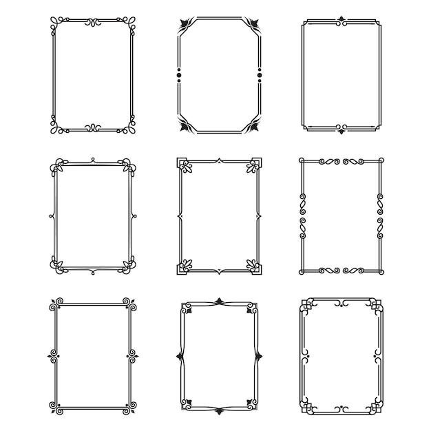 Набор каллиграфических декоративных рамок Бесплатные векторы