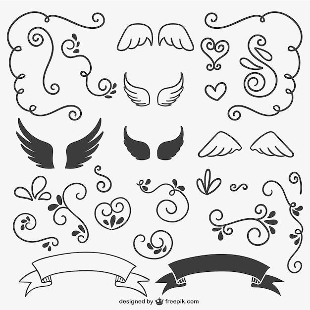 Calligraphic ornaments black and white