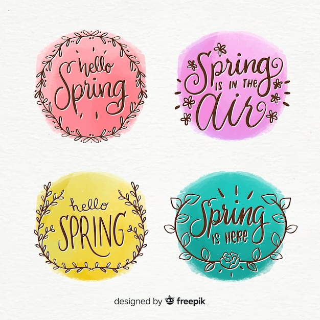 Calligraphic spring label collection Free Vector