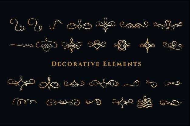 書道の渦巻き飾り装飾大セット 無料ベクター