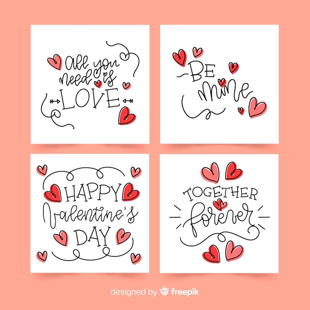 Calligraphic valentine card collection Free Vector