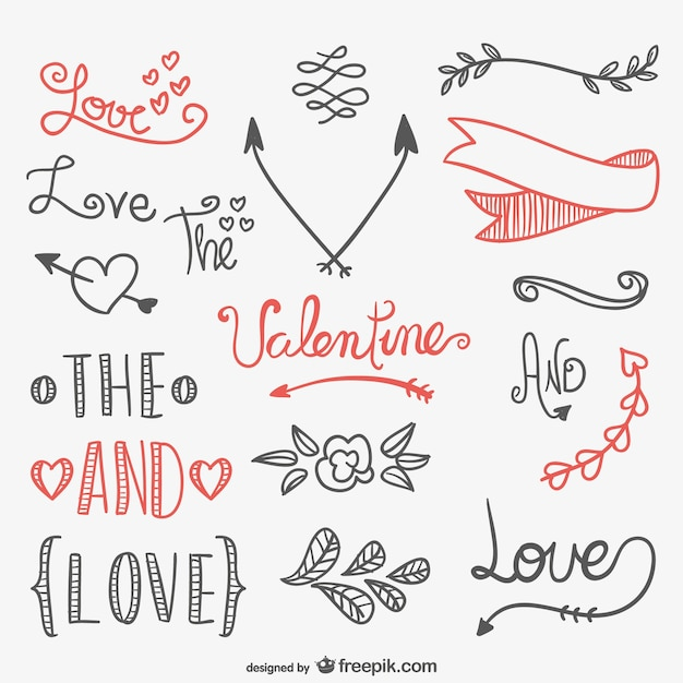 Calligraphic Valentines elements