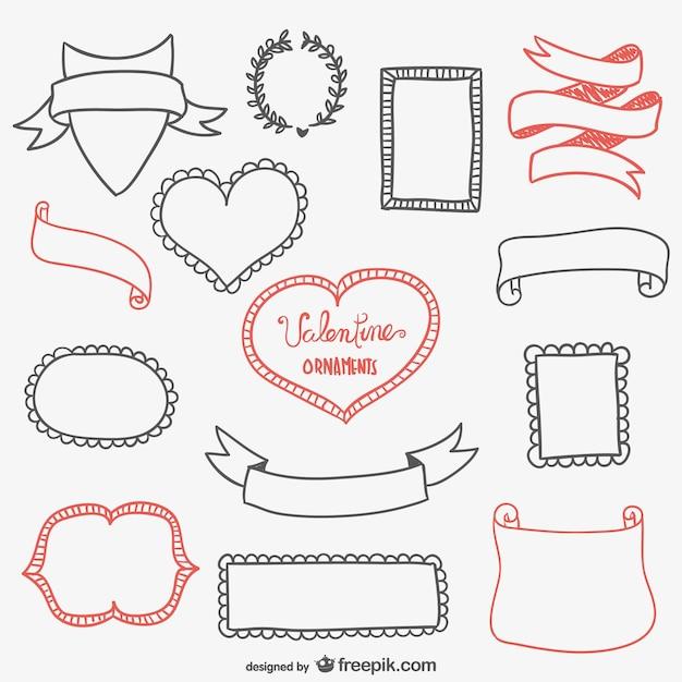 Calligraphic Valentines frames